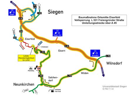 Ortsmitte Eiserfeld Schema  Provisorischer Kreisverkehr eingerichtet – Vollsperrung der Freiengründer Straße!