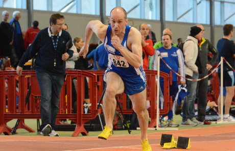 Christian Lück beim 200 Meter-Sprint. Er wurde in der Landeshauptstadt Doppelmeister.
