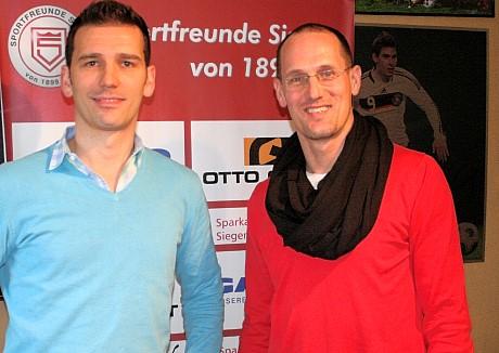 Blicken optimistisch in die sportliche Zukunft: Der neue U23-Trainer Thorsten Seibert (li.) und Sportfreunde-Cheftrainer Matthias Hagner. Foto: J. Kirsch