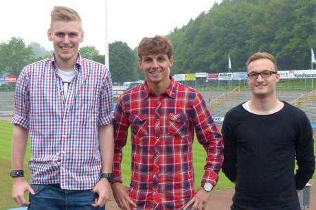 Neue Gesichter im Leimbachtal: Daniel Duschner, Ardian Kameraj und Marvin Helm (v.li.) tragen nächste Saison rot-weiß. Foto: SF Siegen