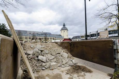 Es geht voran: Die Bauarbeiten am Unteren Schloss liegen im Zeitplan und sollen zwischen Frühjahr und Sommer 2015 abgeschlossen sein. Foto: Uni