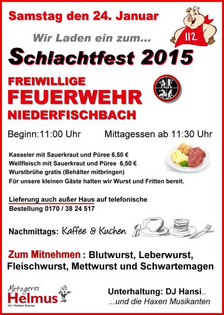 2015 Schlachtfest Feuerwehr Niederfischbach_Plakat_Feuerwehr