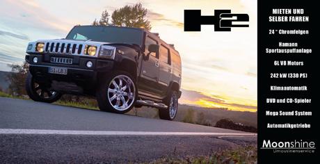 Hummer H2 selber fahren mieten bei Moonshine Limousinenservice  Siegen