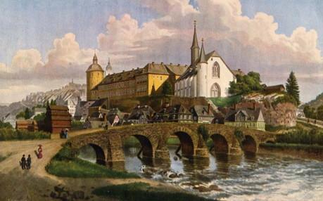 Siegen-mit-Siegbrucke-und-unterem-Schloss-um-1850-Nach-einem-Aquarell-von-Jacob-Scheiner