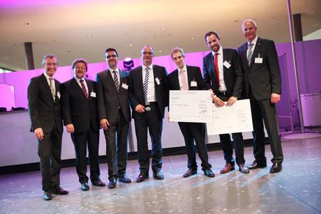 Verleihung des ProSTEP iViP Awards (Copyright: ProSTEP iViP); Personen von links: Dr. Steven Vettermann (General Manager ProSTEP iViP), Reinhold Pohl (Continental Teves / ProSTEP iViP Vorstand), Prof. Dr. Rainer Stark (Fraunhofer IPK / ProSTEP iViP Vorstand), Dr. Oliver Riedel (Audi AG / ProSTEP iViP Vorstandsvorsitzender), Dr. Jens Christian Göbel (Ruhr-Uni Bochum / Gewinner des ProSTEP iViP Scientific Awards für die beste Dissertation), Herr Vogt (BMW / Gewinner des ProSTEP iViP Awards für die beste Masterarbeit) und Herr Ulrich Ahle (Atos IT Solutions and Services / ProSTEP iViP Vorstand)