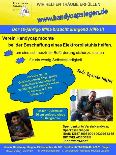 2015-06-07_Siegen_Spenden für Mina_Verein_Handycap_Plakat_Verein