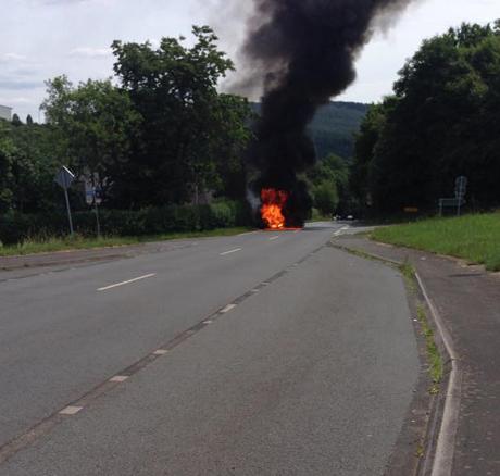 Brennendes Motorrad