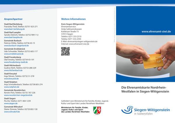 Ehrenamtskarte Nordrhein-Westfalen bringt viele Vergünstigungen. (Flyer: Kreis Si-Wi)