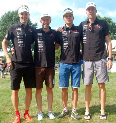 Siegerehrung von links nach rechts: Marian Kraemer, Daniel Knoepke, Jonas Hoffmann, Marco Mühlnikel