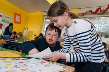 Gemeinsames Lernen von Kindern mit und ohne Behinderung in Regelschulen.
