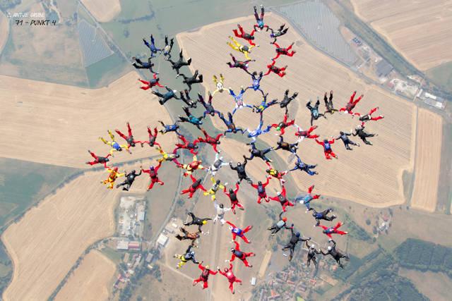 """Passt! Damit schließt sich der Kreis. Mit dieser """"Nummer"""" holten die deutschen Fallschirmsportler am Himmel Tschechiens die Weltbestmarke im Sequential-Springen. Mit von der ehrgeizig-rasanten Partie auch zwei Breitscheider Skydiver. (Foto: Ante Grube)"""