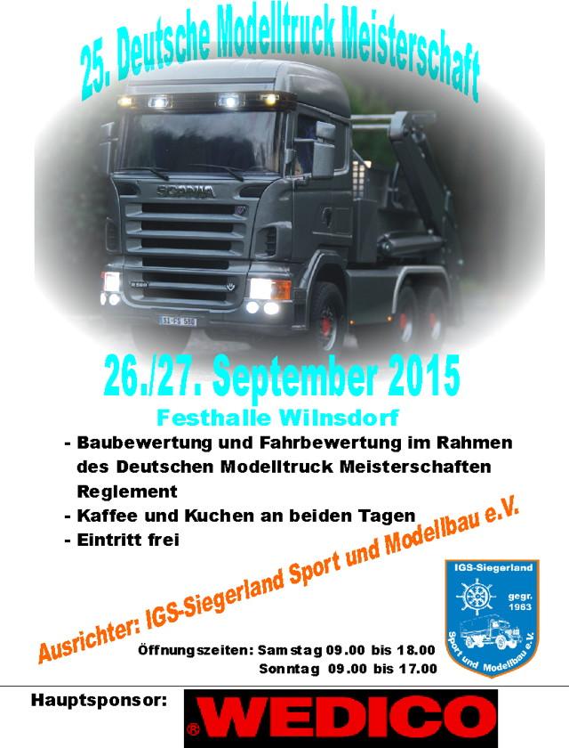 Plakat Deutsche Modelltruck-Meisterschaft Festhalle Wilnsdorf 2015