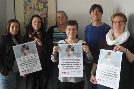 Von links: Sandra Grimm (DGB), Jasmin Delfino (IG-Metall), Mechthild Boller-Winkel (ver.di), Elke Fleßner (ver.di-Bezirksvorsitzende), Marina Uelsmann (Autonomes feministisches Referat Uni Siegen), Tanja Krönert (Vorsitzende ver.di-Frauenausschuss). (Foto: verdi)
