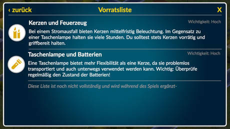 "Screenshot der App ""Blackout"""