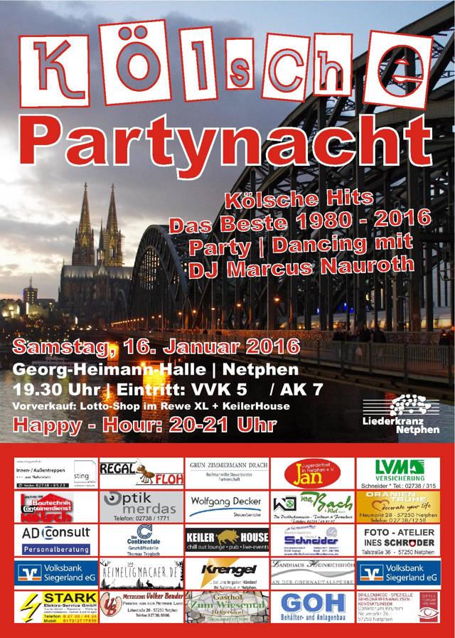 """5×2 Freikarten für die """"2. Kölsche Partynacht"""" in Netphen zu gewinnen (Plakat: Veranstalter)"""