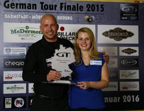 Roman Hybler (Sieger des German Tour Finals) und Ina Kaplan (Siegerin des German Tour Finals der Damen)