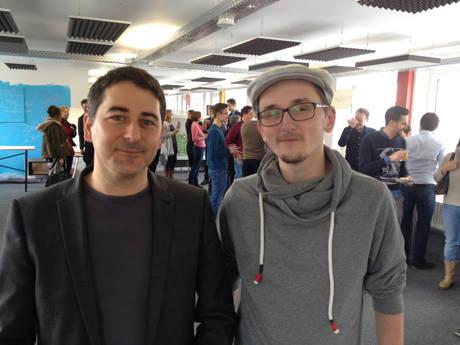 Jiannis Giatagantzidis (l.) und Peter Kubior nach der Begrüßung