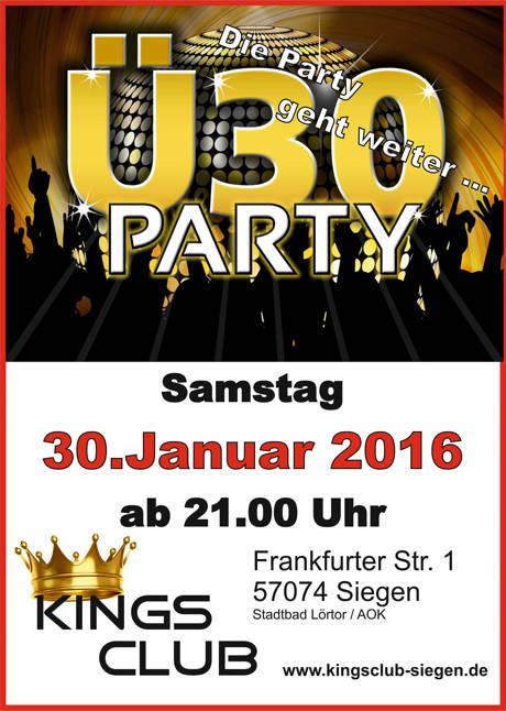 2016-01-30_Siegen_Ü30-Party im Kings Club Siegen_Plakat_Kings Club