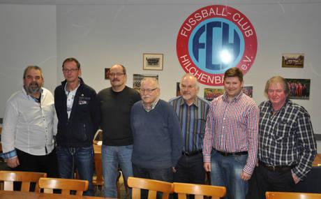 """Kally"" Münker, Jürgen Kuhring, Andreas Nowak, Tönis Juksaar, Wolfgang Roth, Tim Scherer und Martin Reichenau."