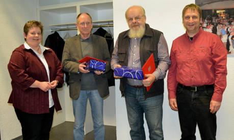 Tanja Wagener (l.) und Reiner Lorenz (r.) ehrten Karl-Heinz Künkler (2.v.l.) und Bernd Müller (2.v.r.) für 40-jährige Mitgliedschaft in der SPD.