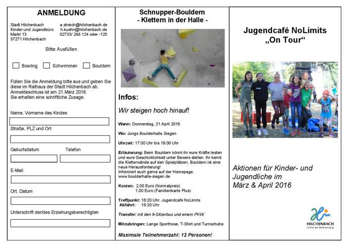 "2016-03-18_Hilchenbach_""On Tour"" im Frühjahr mit dem Jugendcafé NoLimits_Flyer_Stadt Hilchenbach_01"