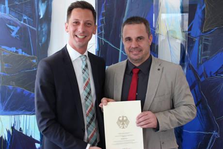 Landrat Andreas Müller (l.) und Breitbandkoordinator Michael Krämer. (Foto: Kreis)