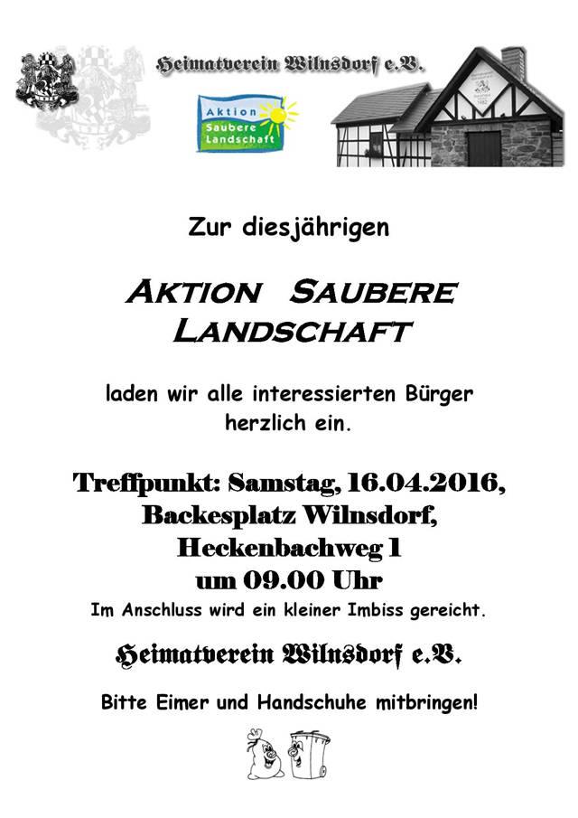 2016-04-14_Wilnsdorf_Plakat Aktion Saubere Landschaft 2016_Plakat_Heimatverein Wilnsdorf