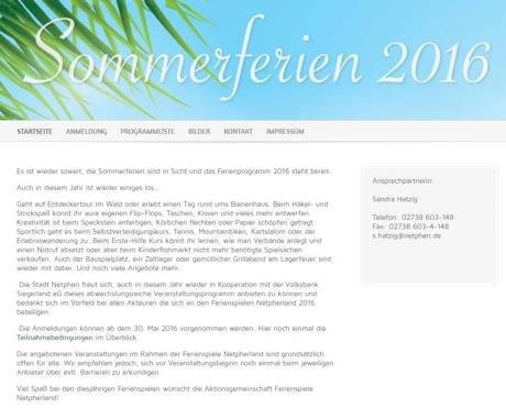 Programm für die Ferienspiele Netpherland 2016 steht bereit! (Screenshot)
