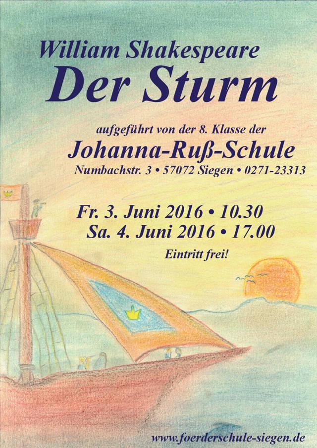 """Shakespeares """"Sturm"""" an der Johanna-Ruß-Schule. (Plakat: Veranstalter)"""