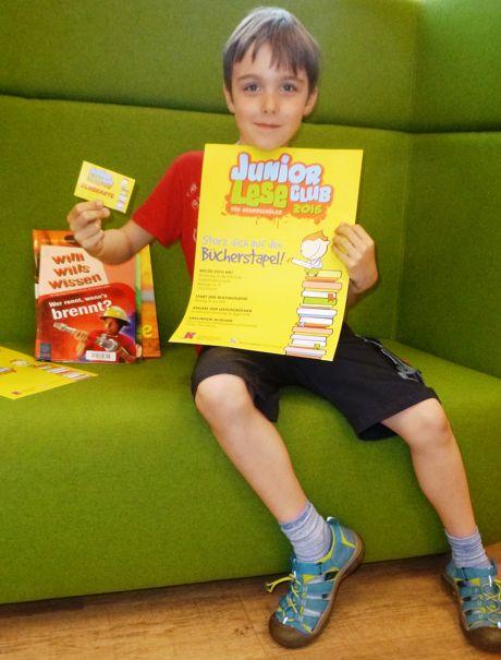 Justus ist Mitglied im JuniorLeseClub