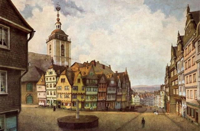 Die Nikolaikirche mit dem Häuserblock ,,Klubb'' um 1850. Es ist ein Aquarell von  Wilhelm Scheiner