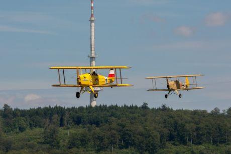 """Early Birds: """"Kiebitz""""-Doppel im Landeanflug. Kleine Vogelkunde im Schatten des Fernsehturms. Bei diesen beiden Mustern handelt es sich übrigens um Ultraleichtflugzeuge. Foto: Elfi Jung"""