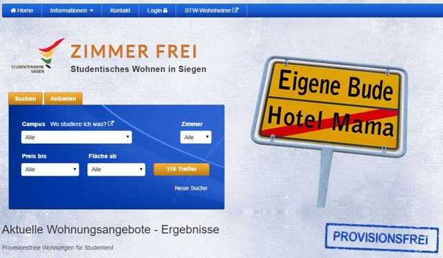 Um zusätzlich privaten Wohnraum zu gewinnen, steht privaten Vermieterinnen und Vermietern das Wohnraumportal des Studierendenwerks unter www.studentisches-wohnen-in-siegen.de zur Verfügung. (Screenshot)