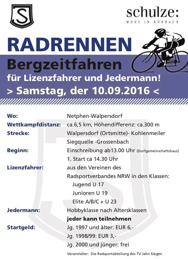 2016-08-31_Netphen-Walpersdorf_Bergzeitfahren zur Siegquelle am 10.September_Plakat_TV Jahn Siegen